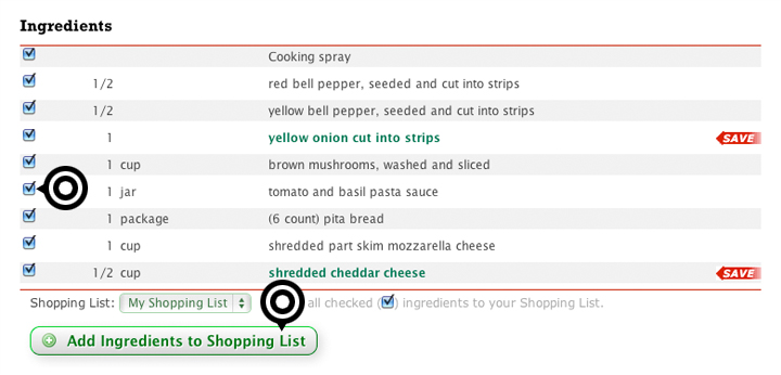 recipes add to shopping list
